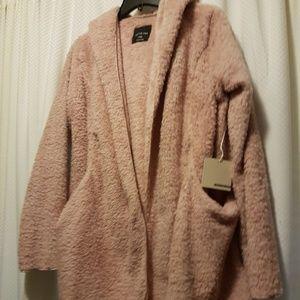 Sweaters - Blush Fuzzy  Hooded Cardigan